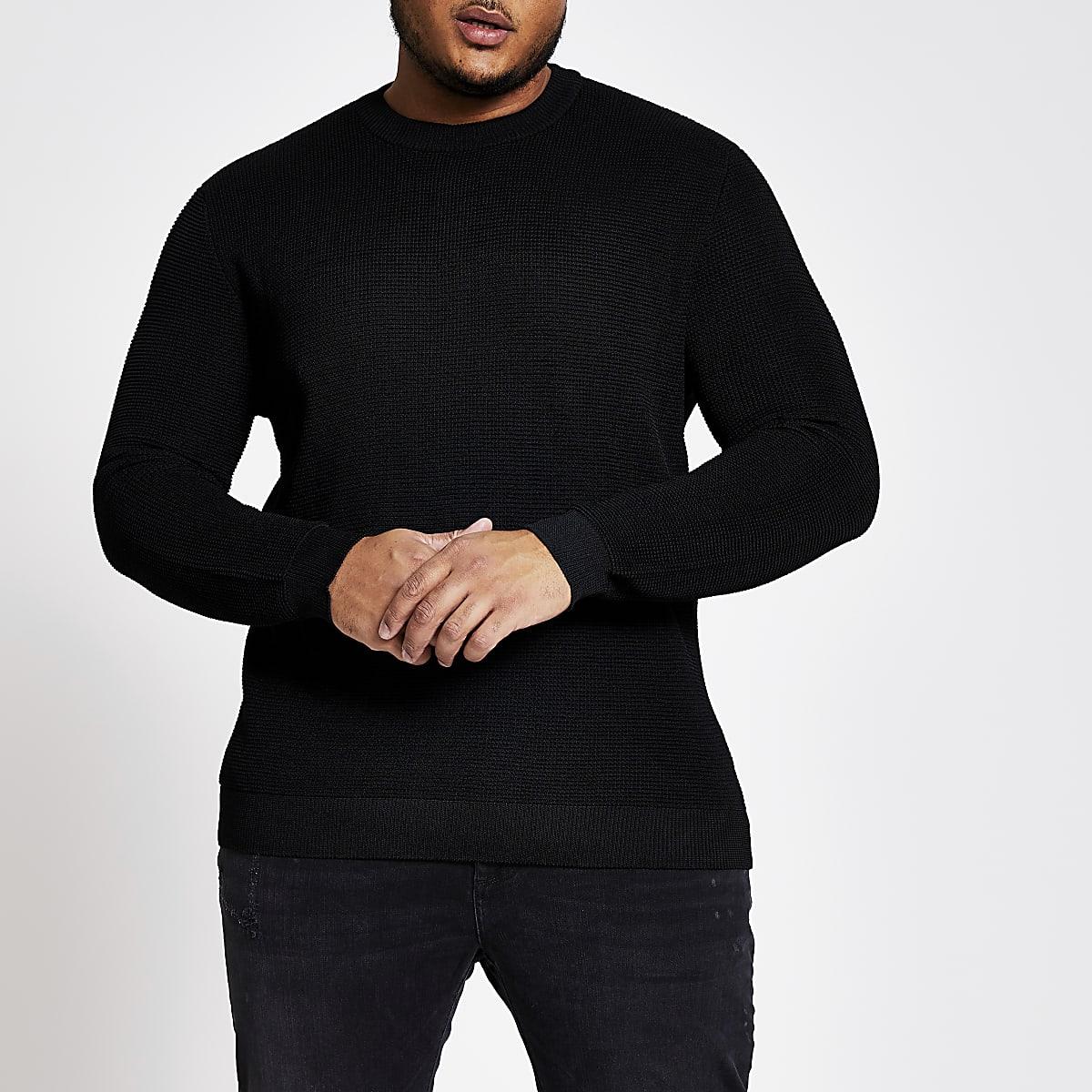 Big and Tall - Zwarte pullover met ronde hals