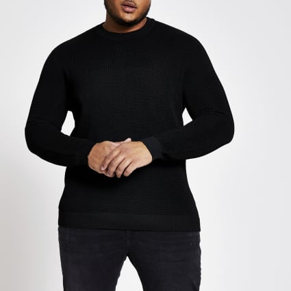 Big and Tall black crew neck jumper