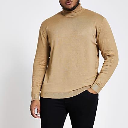 Big and Tall brown slim fit roll neck jumper