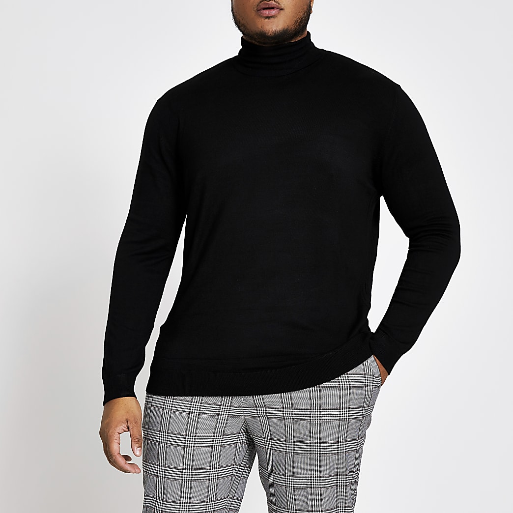 Big and Tall - Zwarte slim-fit pullover met col