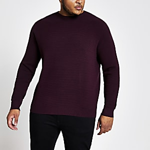 Big and Tall - Rode slim-fit pullover met rits