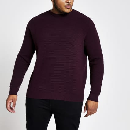 Big and Tall slim fit red zip neck jumper