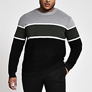 Big and Tall - Grijze slim-fit pullover met kleurvlakken