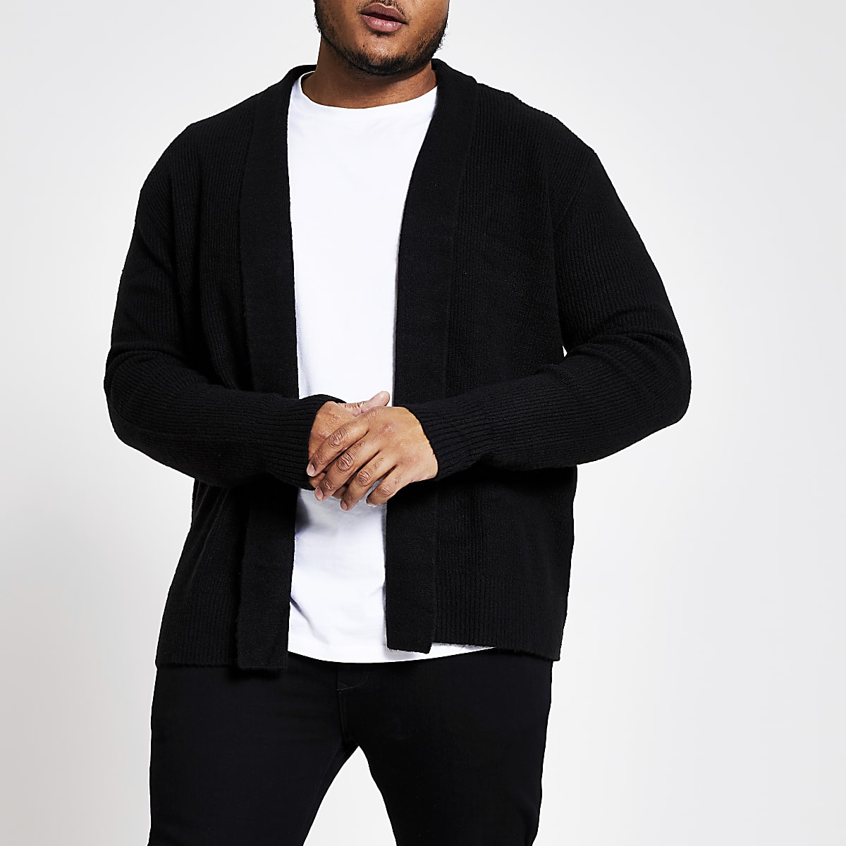 Big and Tall black foldback collar cardigan