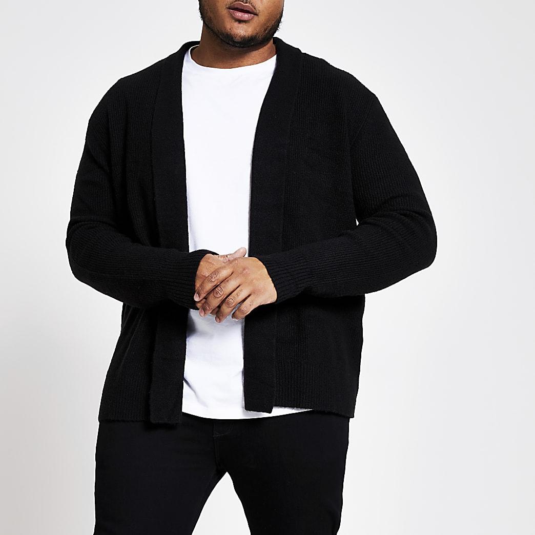 Big and Tall black foldback collar cardigan