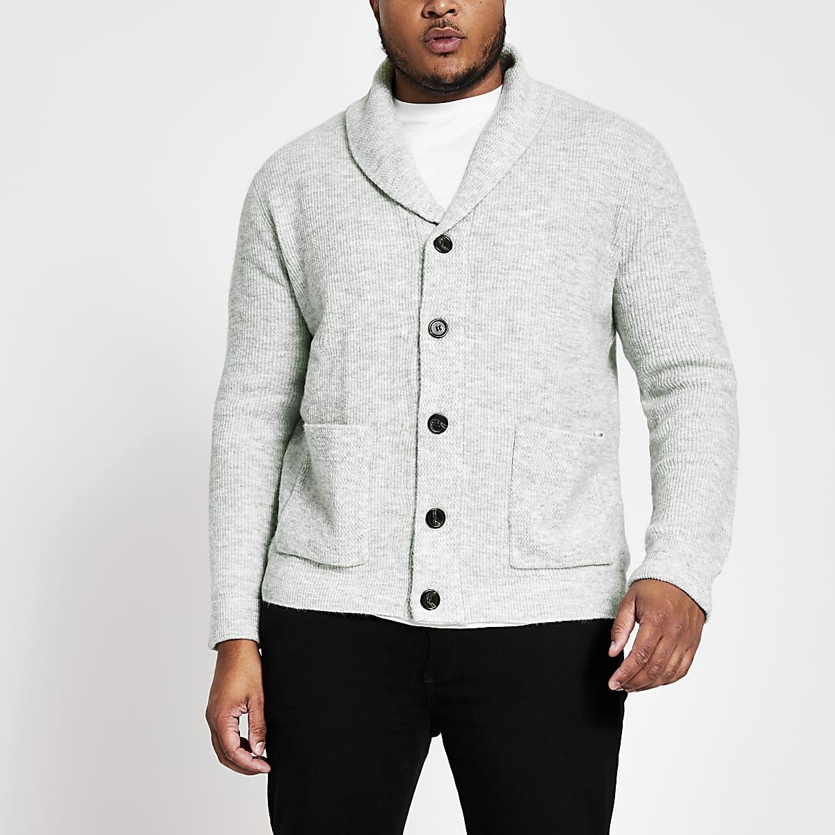 Big and Tall grey knit shawl collar cardigan