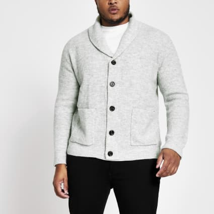 Big and Tall grey knit shawl collar cardigan