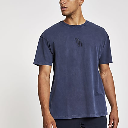 Navy wash Svnth embroidered oversized T-shirt