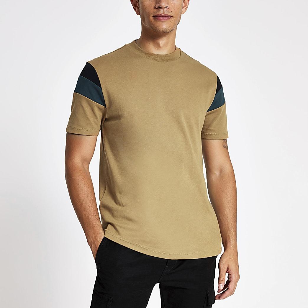 Brown colour block slim fit T-shirt