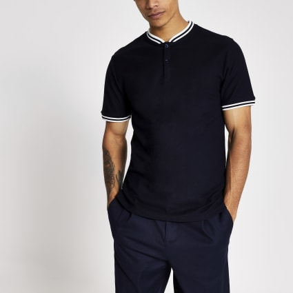 Navy Maison Riviera baseball neck polo shirt