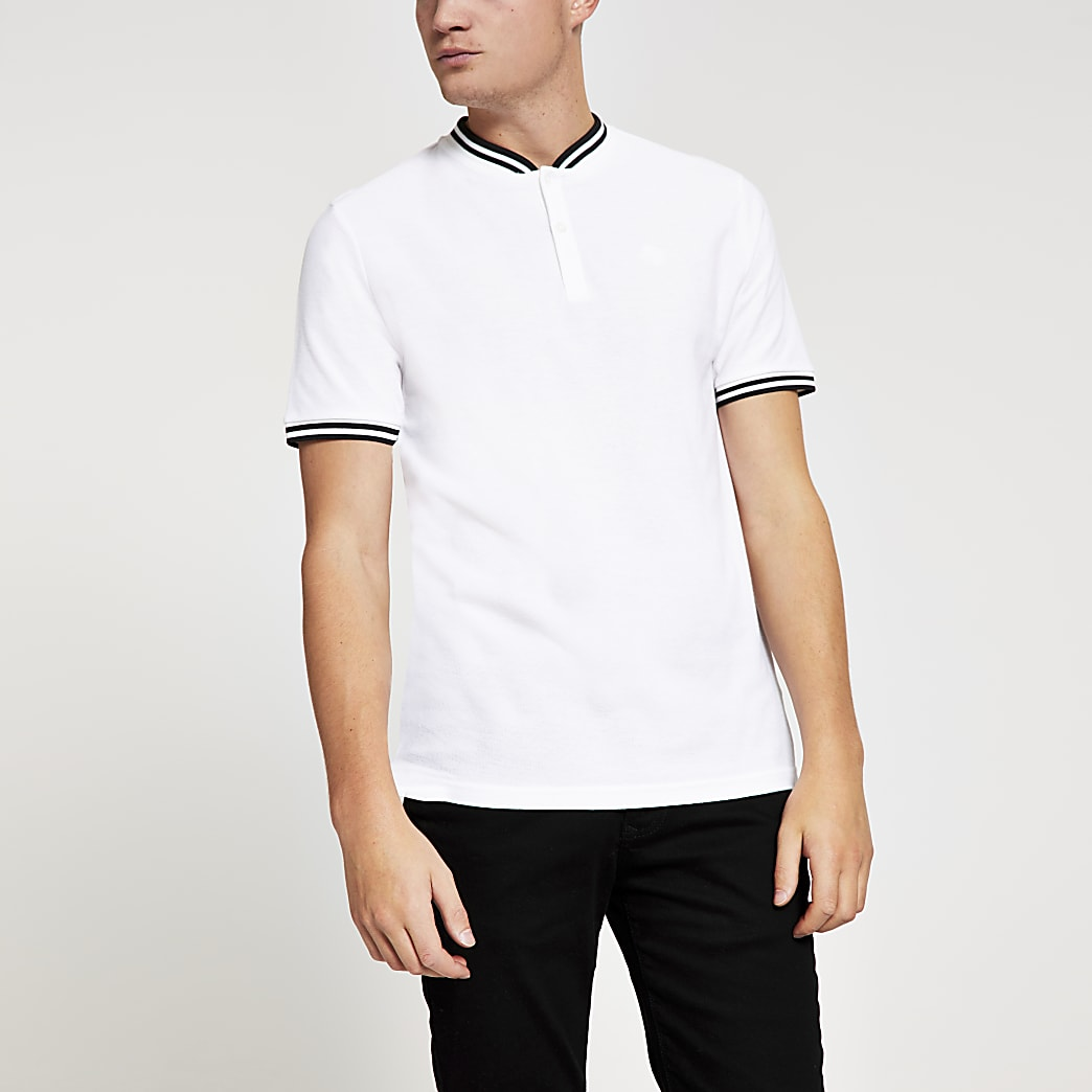 White slim fit baseball neck polo shirt