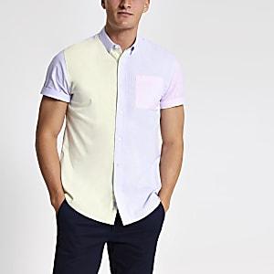 Geel slim-fit overhemd met pastelkleurige kleurvlakken