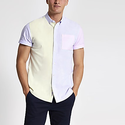 Yellow pastel block short sleeve shirt