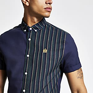 Navy stripe short sleeve slim fit shirt