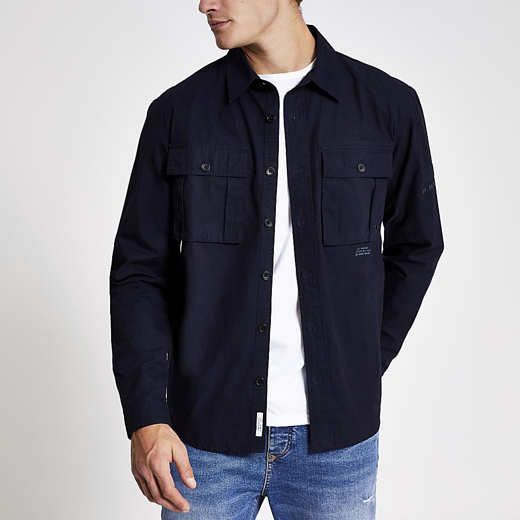 Marineblaues, langärmeliges Regular Fit Überhemd
