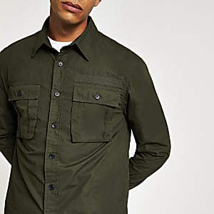 Dunkelgrünes, langärmeliges Regular Fit Überhemd