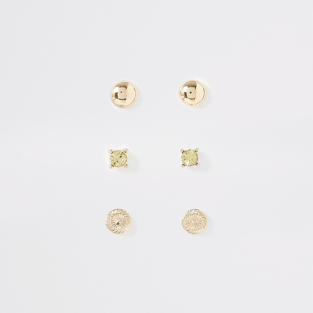 Gold colour textured stud earrings 3 pack