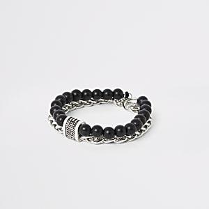 Zwarte armband met ketting en kralen