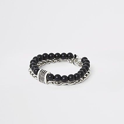 Black chain and beaded bracelet