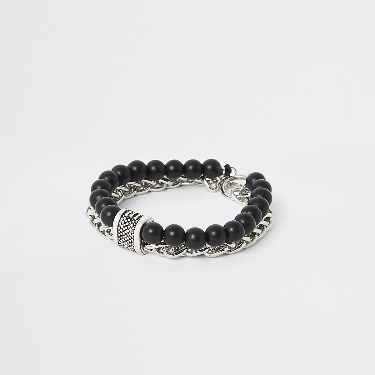 Black chain and beaded bracelet