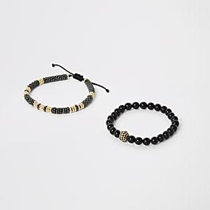 Lot de2 bracelets noirs à perles et cordon