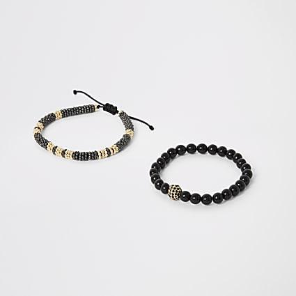 Black beaded drawstring bracelet 2 pack