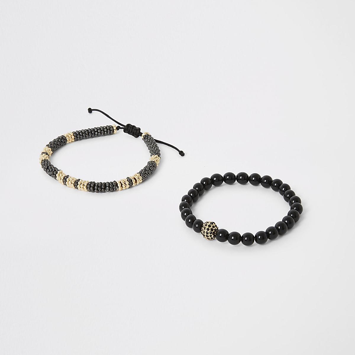 Set van2 zwarte kralenarmbanden met trekkoord