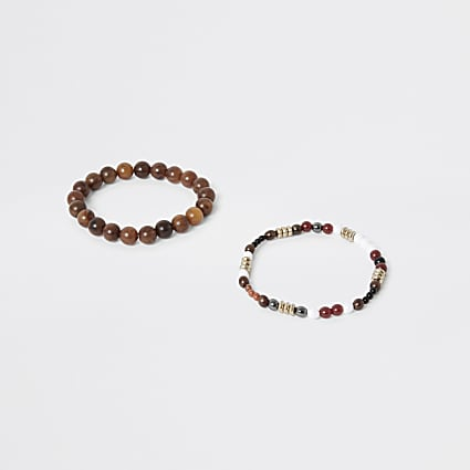 Brown beaded bracelet 2 pack