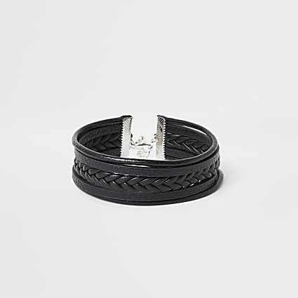 Black faux leather plaited wrap bracelet