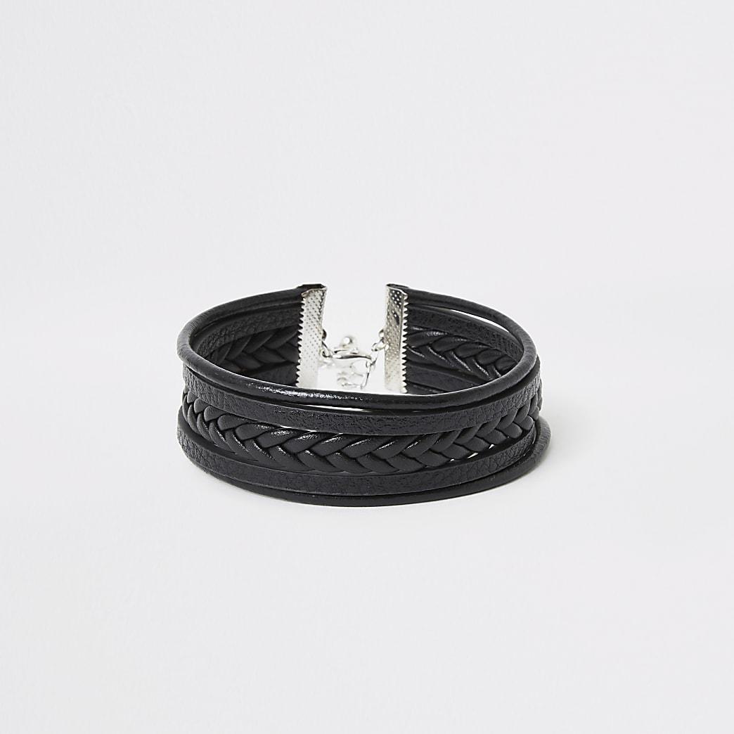Bracelet noir triple tour en simili cuirentrelacé