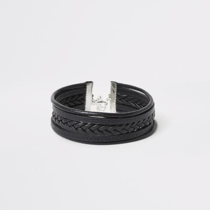 Black faux leather plaited wrap bracelet