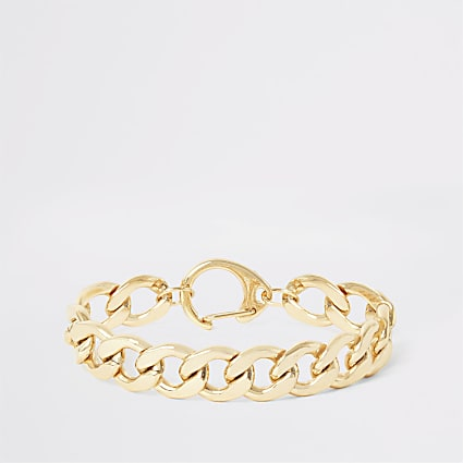 Gold colour chunky chain bracelet