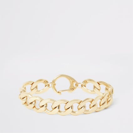 Gold colour chunky chain bracelet