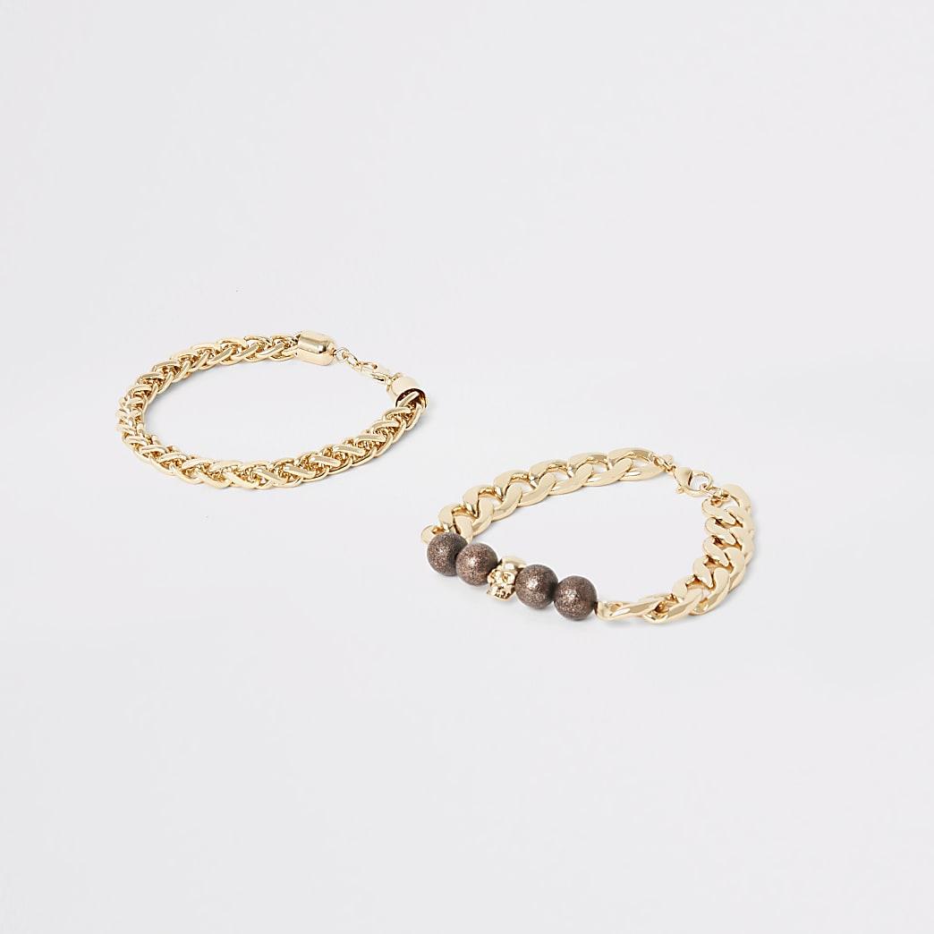 Lot de2 braceletsdorés chaîneset tête de mort