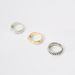 Set van 3 zilver- en goudkleurige ringen met textuur