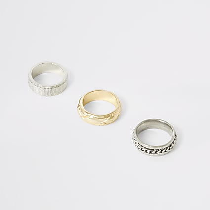 Silver and gold colour texturued ring 3 pack