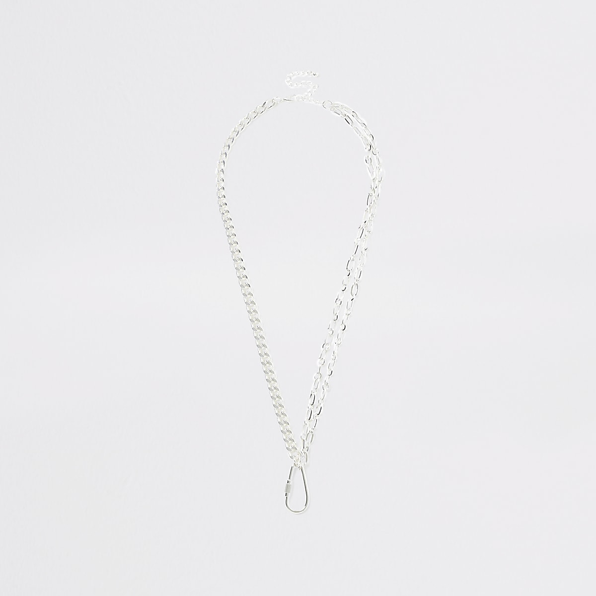 Silver colour clip pendant necklace