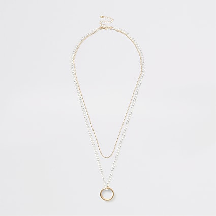 Gold and silver colour ring layered necklace