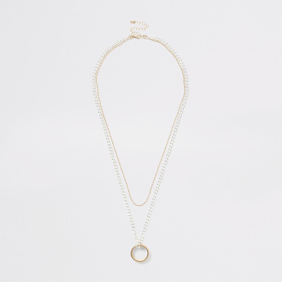 Goud- en zilverkleurige gelaagde ketting met ring