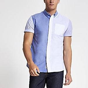 Blauw slim-fit overhemd met kleurvlakken