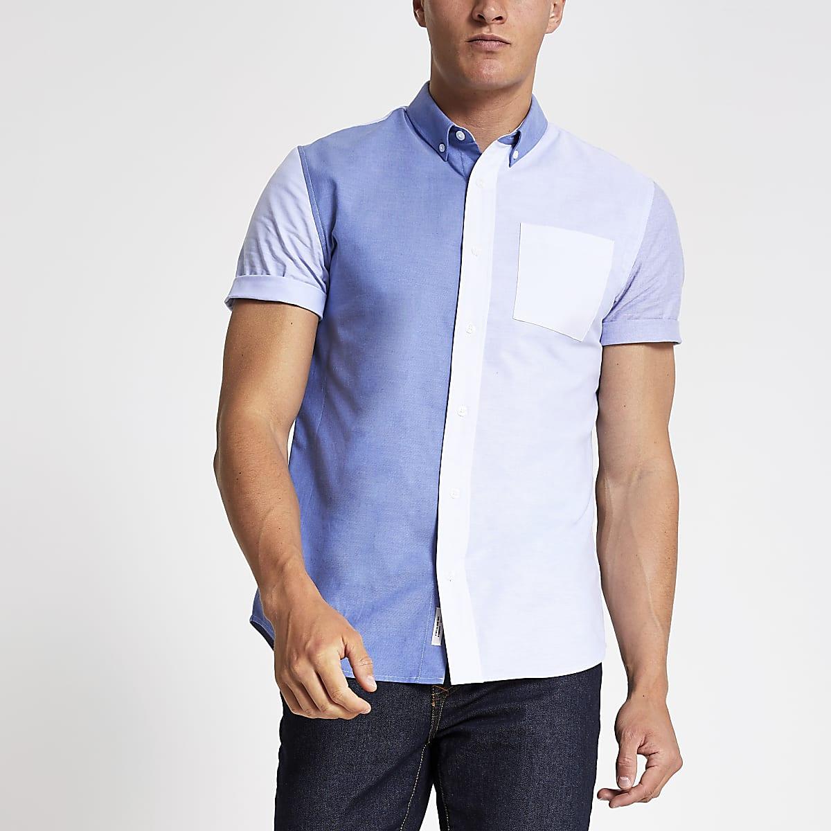 Blue block slim fit shirt