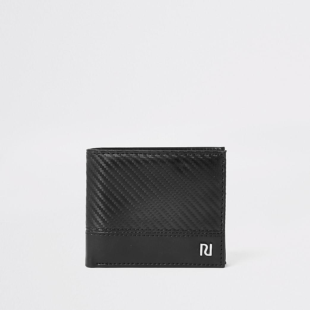 RI – Portefeuille texturé à rabat noir