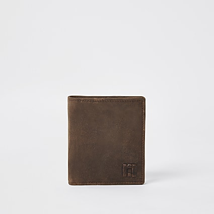 Light brown leather fold out wallet