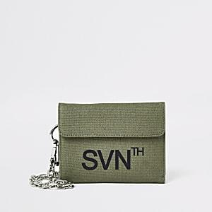 Kaki 'Svnth' portemonnee met klitteband