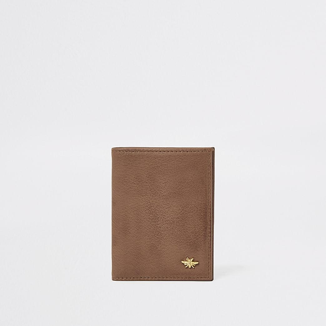 Portefeuille en cuir marron motif guêpe
