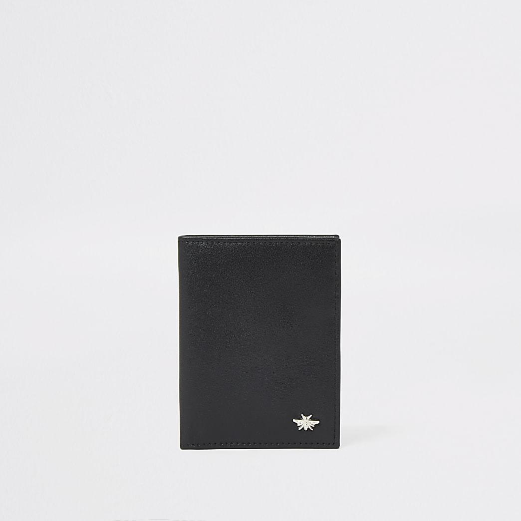 Portefeuille en cuir noir motif guêpe