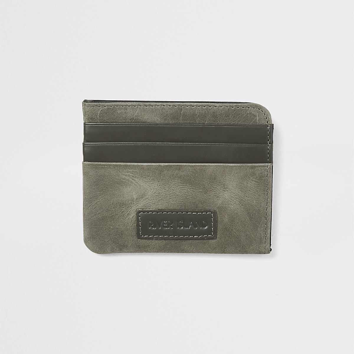 Khaki RI leather cardholder