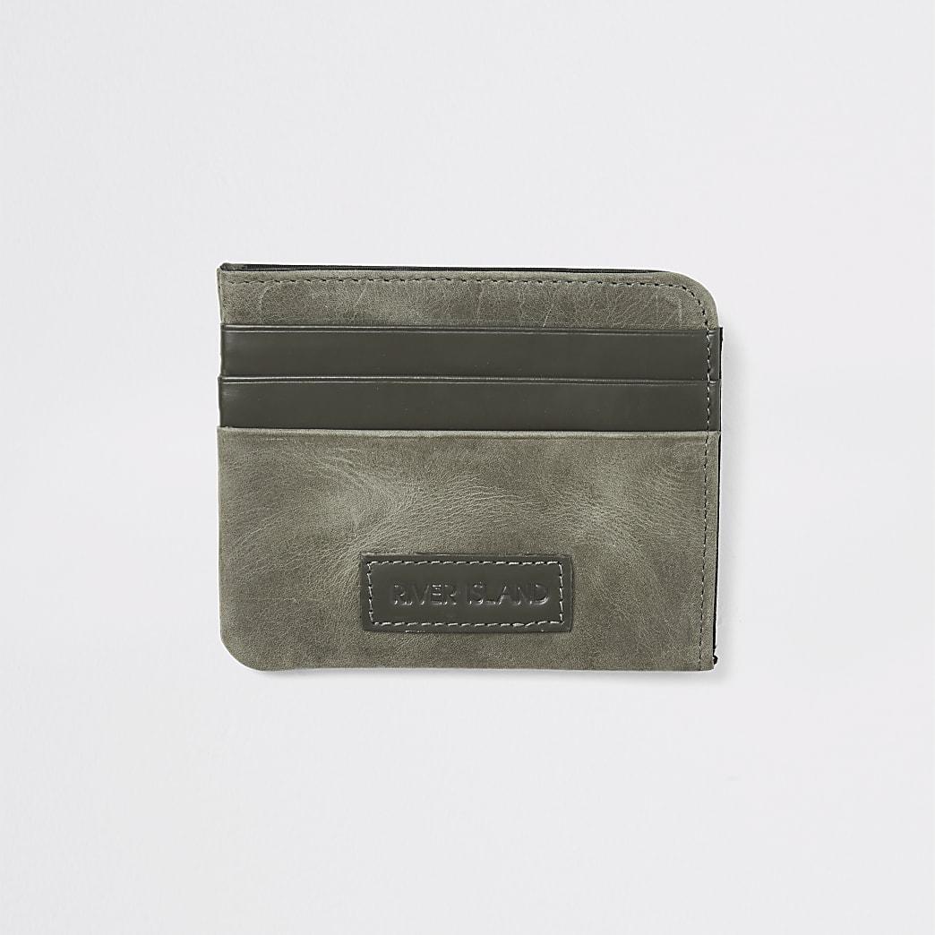 Portes-cartes RI kaki en cuir