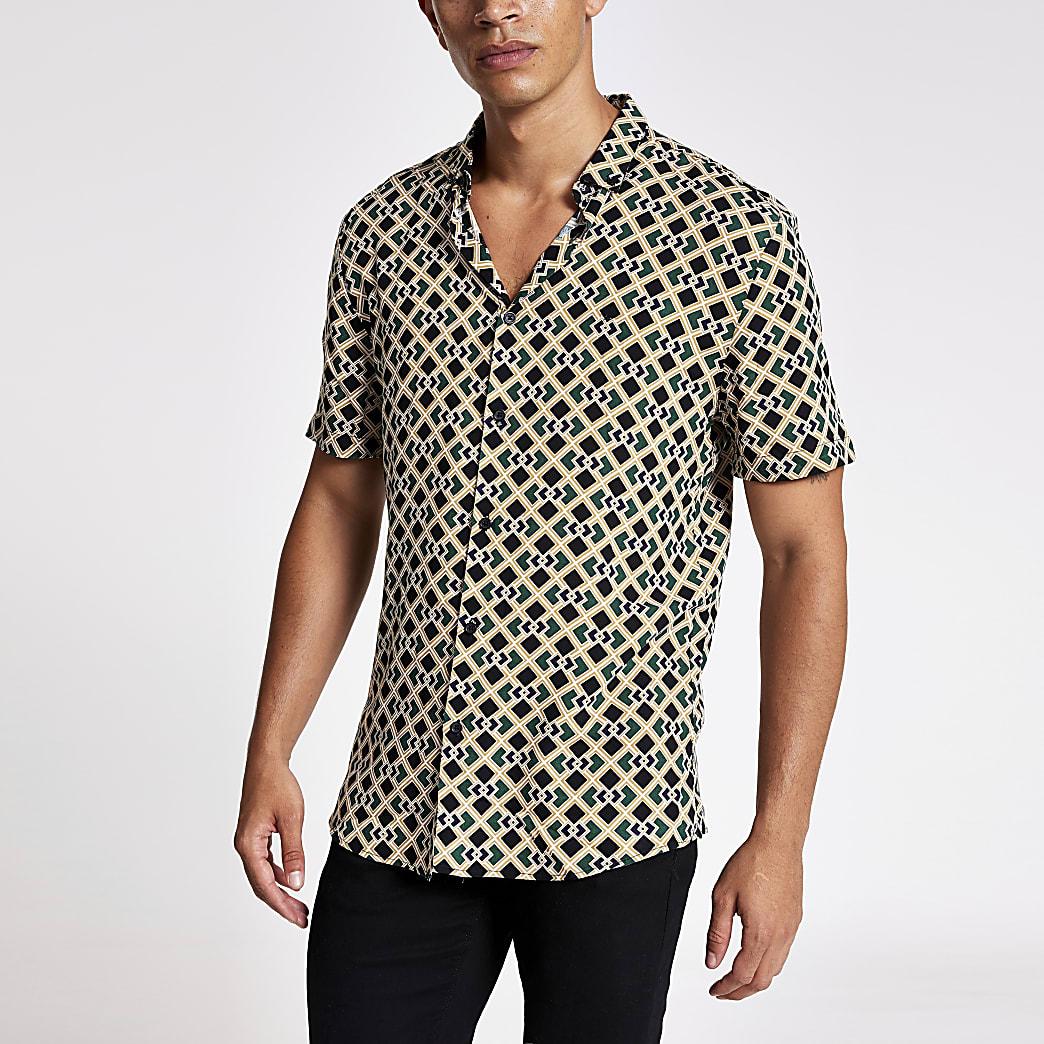 Black geo print short sleeve slim fit shirt