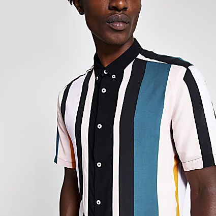 Black pastel stripe print short sleeve shirt